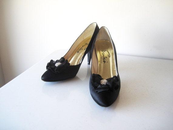 RESERVED for JAzlynn Vintage Black Bridal Shoes Wedding Satin Rhinestone Trim Velvet Ribbon Italy Size 8.5 Valentines Day