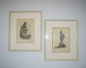 Paul Geissler Silk Etchings, Wall Art, Limited Edition, Museum Framed, Vintage 1940's or earlier