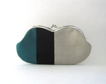 Sunglasses  Case /  Frame Clutch Purse - linen patchwork - teal and black