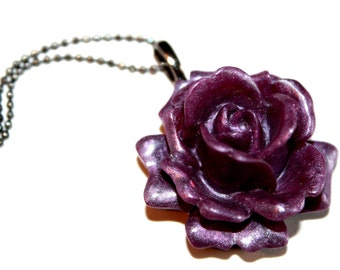 Purple Rose Necklace,