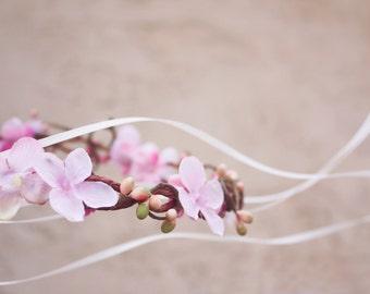 Bridal flower crown, Purple flower, pink flower, woodland wedding, wedding hair accessory