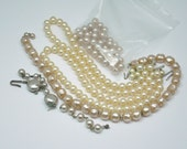 Vintage Glass Pearl Necklace Pieces FOR CRAFTS