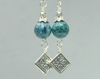 Vintage Bead Earrings Turquoise Fossil Celtic Knot Dangles