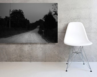 Black and White  Large Canvas Landscape  of Country Road at Dusk
