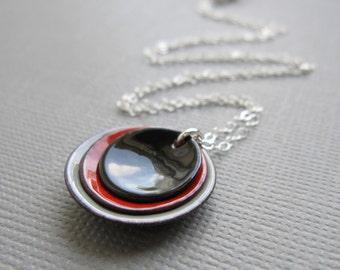 Modern Black Red Gray Enamel Minimalist Necklace Sterling Silver