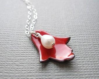 Cherry Red Enamel Jewish Hamsa Necklace White Pearl Judaica Sterling Silver