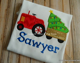 Tractor Christmas Tree Boys Christmas Shirt Long or Short Sleeve