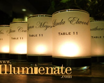 SALE - 100 Place Card / Name Card / Escort Card / Wedding Favor / Vellum Candle Votive wraps (use LED or regular candles)