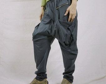 Men Women Funky Ninja Harem Charcoal Grey Cotton Jersey Drop Crotch Pants With Patched & Zipped Pockets
