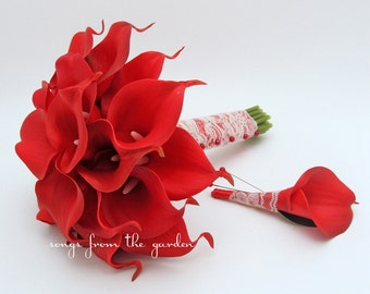 Ready to Ship - Red Real Touch Calla Lily Bridal Bouquet Groom's Boutonniere Red Ribbon Lace Wrap - Wedding Bouquet Real Touch Calla Lilies
