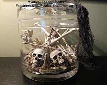 Halloween Skeleton Jar -Apothecary jar of Skeleton Bones-Large