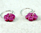 Magenta Lampwork Flower Earrings, Sterling Silver Ear Wire