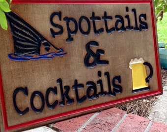 Spottails and Cocktails routed wood sign painted to match your decor redfish wood sign mancave sign