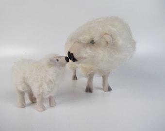 English Dartmoor Sheep Figurine Nose to Nose with Lamb