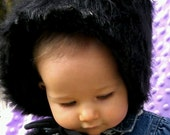 Girls' sizes 3 months to 5 years Black Faux  Fur Hat with PomPom ties