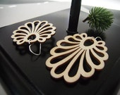 Wood Earrings, Laser Cut Wood Earrings, Natural Finish, Peacock Tail, Natural Wood Earrings, Woodland Fairy, Filigree Earrings, Fan Tail