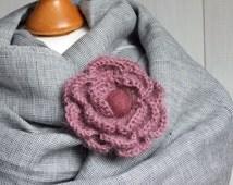 FLOWER BROOCH pin Crochetted flower coat pin, light pink crocheted flower pin