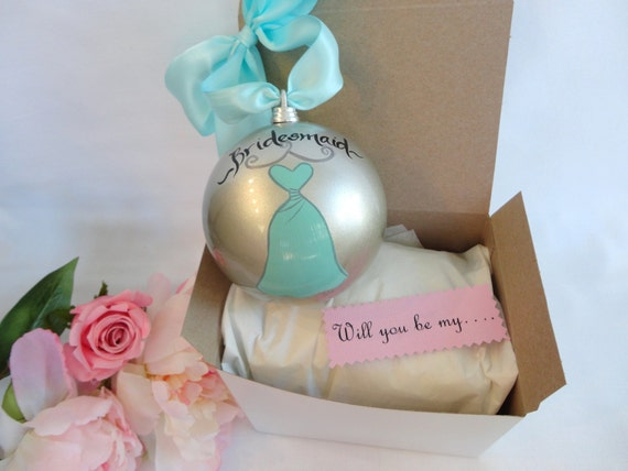 Wedding Gift Ornaments: PERSONALIZED Will You Be My Bridesmaid Ornaments COMES With