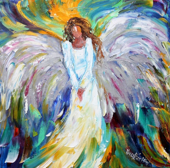 Original Oil Painting Angel Bright Palette Knife By