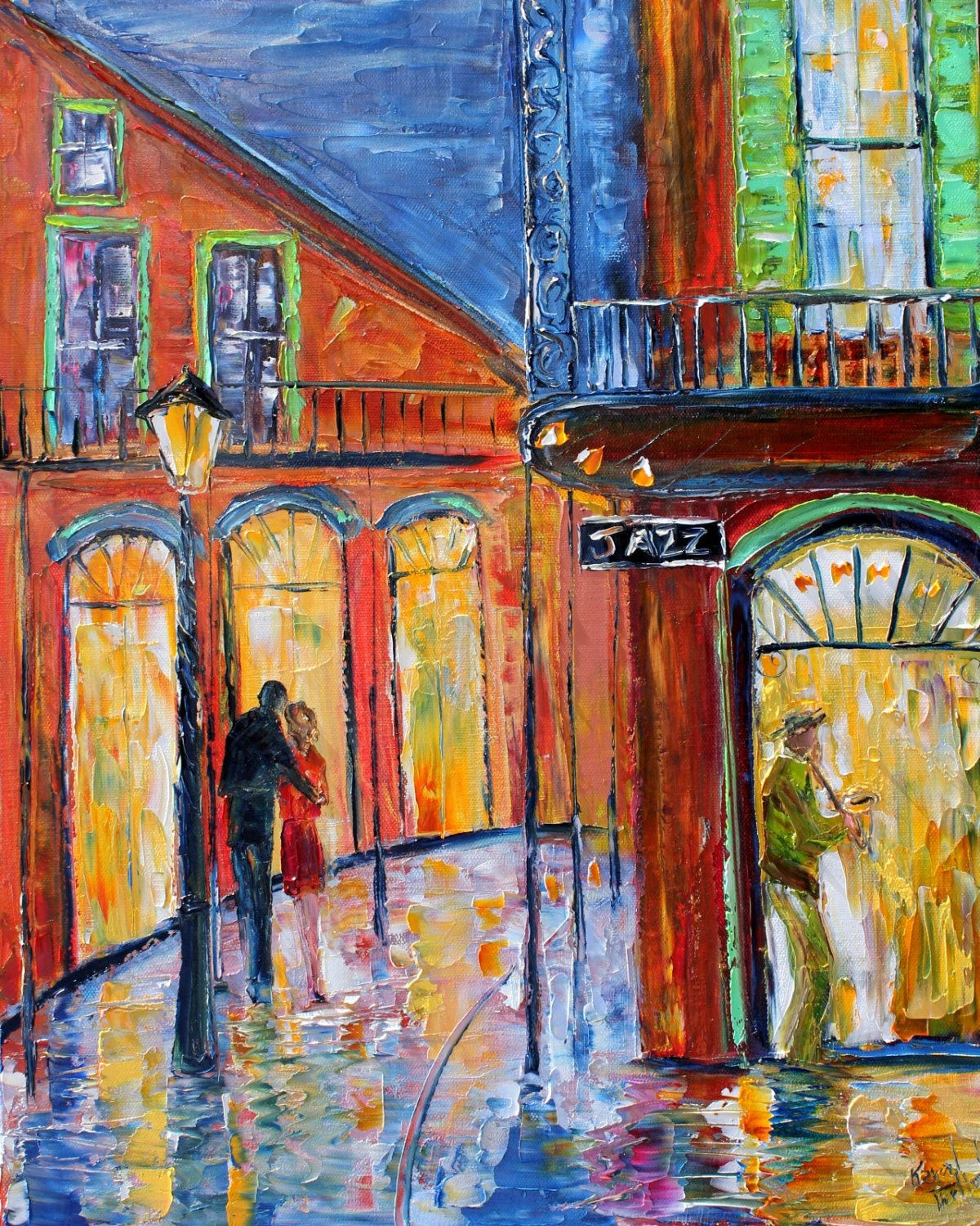 original oil painting bourbon st new orleans night on canvas