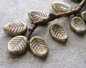 Large earthy leaf beads, Czech glass leaf beads Opaque grey & olive, brown Picasso finish, 12X16mm (10pcs) NEW