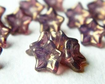 Mauve Bronze flower glass beads, Czech glass 5-petal trumpet flower beads, 8X5mm, Opal glass & Bronzed Mauve finish (20pcs) NEW