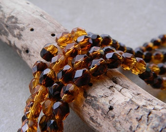 6mm Tortoise Topaz Czech Glass Beads, Fire Polished Beads, Faceted Round Beads (40pcs) N E W