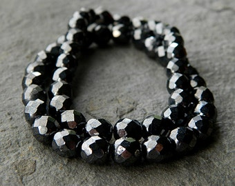 8mm Faceted Round Glass Beads, Czech Glass Beads, Fire Polished Beads, Opaque Jet & Hematite luster (20pcs) NEW