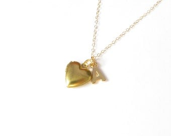 Small Gold Heart Locket And Initial Necklace, Tiny Locket Pendant, 14kt Gold Filled, Personalized Jewelry, Initial Pendant