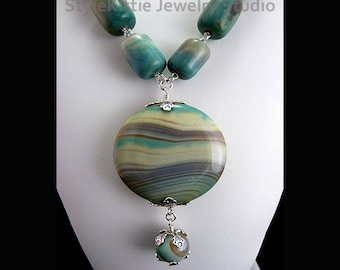 Banded Agate, 925 Sterling Silver, Pendant Necklace, Blue, Yellow, Wire Wrapped, Multi Color Gemstone, Striped, Aqua, Tan, Toggle, Jewelry
