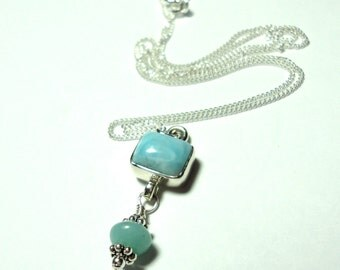Larimar Pendant Necklace with Amazonite Dangle in Solid Sterling
