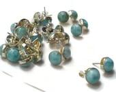Larimar studs post earrings 10 mm Larimar stone Blue Jewelry Sterling Silver 925 Unisex Studs