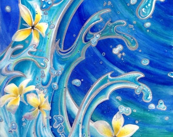 ORIGINAL Large Watercolor mixed media, Tropical Plumeria Flowers, Painting, Blue Hawaii, gallery art, wall art, home decor, Christie Marie