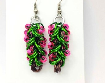 Chainmaille Christmas Tree Earrings made from lightweight Anodized Aluminum Jumprings.  Limited Run.