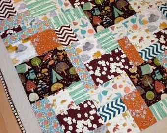 Aspen Woods, ORGANIC Modern Child's Quilt, XL Crib Quilt, Toddler Quilt, Gender Neutral, 44 x 50