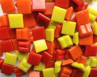 "100 Red Yellow Orange Mix Mini Vitreous Glass Tiles 3/8""/ Fire Mix Micro Mosaic Glass Tiles/ Mini Glass Tiles"