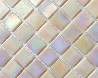 "20mm (3/4"") Peach Pink Iridescent Vitreous Glass Mosaic Tiles//Opalescent Abalone//Mosaic Supplies//Mosaic Pieces//Crafts"