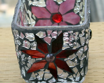 Votive, Stained glass ,Handcut flowers , Colorful  Stained Glass Mosaic container
