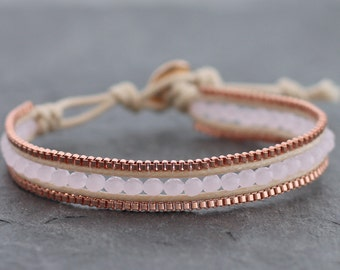 Rose Quartz Faceted Square Copper Beaded Bracelet