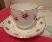 Vtg Duchess Teacup and Saucer, Bone China, England, Fushia Pink Roses, Lavender Flowers
