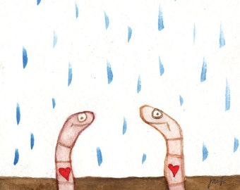 Happiness is a Worm Heart (Greeting Card)