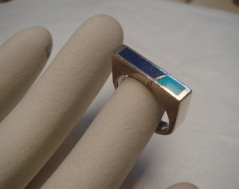 vintage 1960's turquoise and  lapis stone in solid sterling silver ring