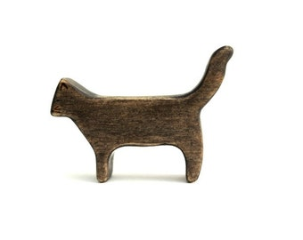cat wooden figurine, wooden cat toy, cat waldorf toy, waldorf animal toys, wood toy animals