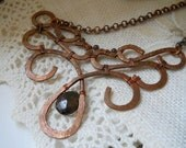 Smokey Quartz and Copper Filigree Necklace