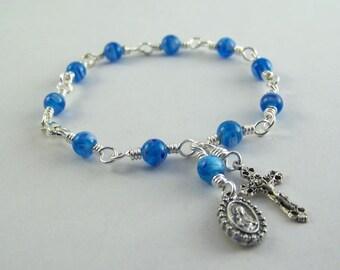 Blue Sacred Heart Rosary Bracelet