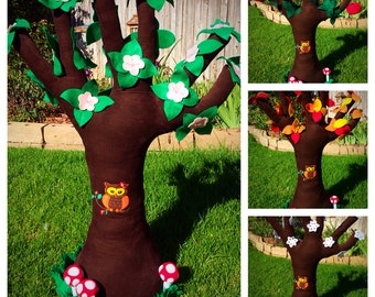 Apple Tree Plush - Apple Tree with Felt Apples - Spring Summer Fall Winter Apple Tree Toy -  Kids Plush Apple Tree with changing Seasons