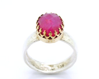 Oval ruby ring set in gold filled & a hammered silver ring