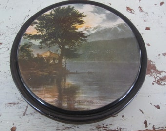 Vintage Scenic Tin with Paper Ephemera Antique Postcards Trade Cards Fun Stuff