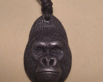 Gorilla pendant necklace NEW Western Lowland gorilla  dark pewter finish