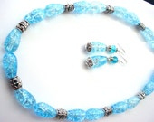 Stunning Crackle Quartz Turquoise Necklace and Earrings